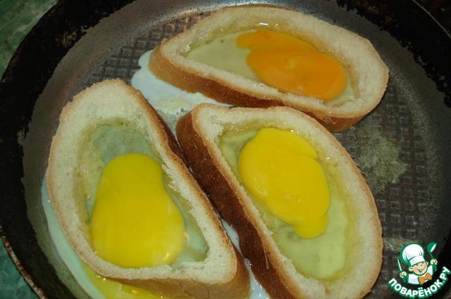 Приготовить яйцо в батоне